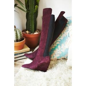 Wine Red Black Suede Wedge Over the Knee Boots